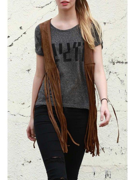 trendy Wild West Suede Fringe Vest - CAMEL L