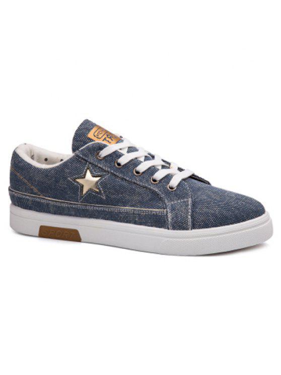 نجم انقطاع الدانتيل يصل أحذية قماش - أزرق سماوي 43