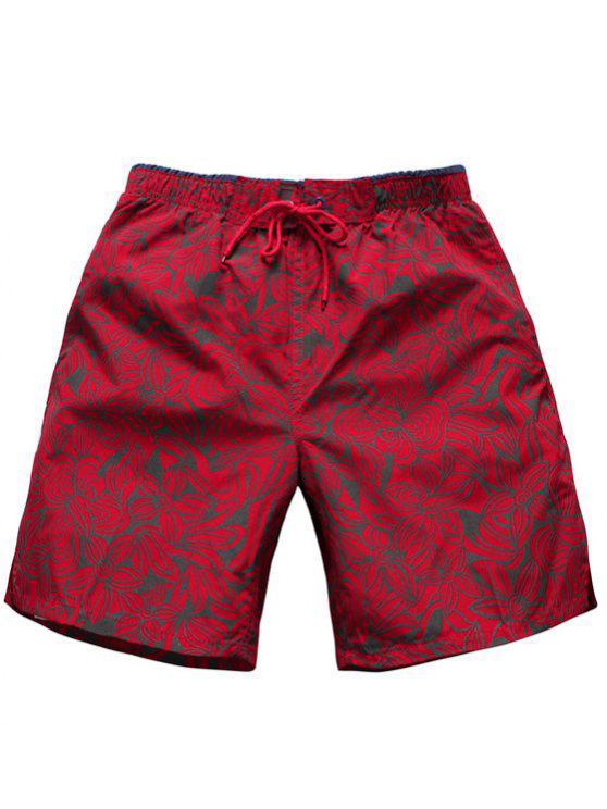 lady Straight Leg Drawstring Floral Board Shorts - RED M