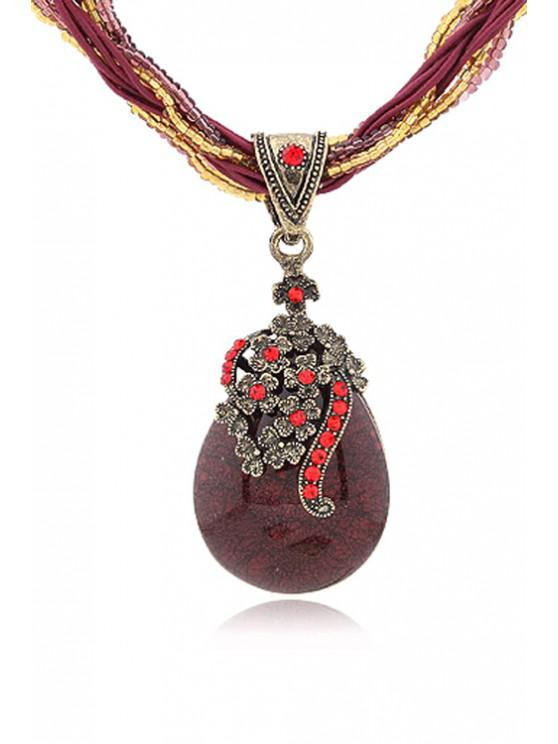 trendy Bohemia Water Drop Flower Pendant Necklace - RED