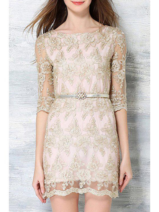 Champagne Lace Dress with Sleeves