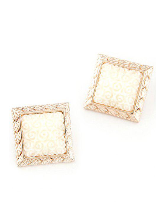 women Carving Faux Gemstone Square Earrings - WHITE