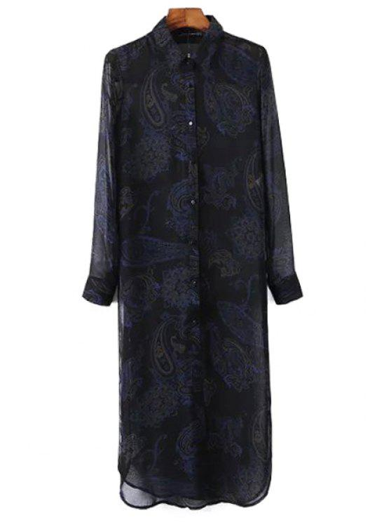 unique See-Through Print Turn-Down Collar Long Sleeve Dress - BLACK S
