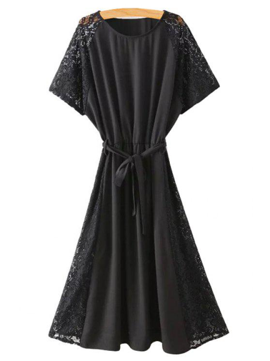 ladies Lace Spliced Round Collar Short Sleeve Belted Dress - BLACK L