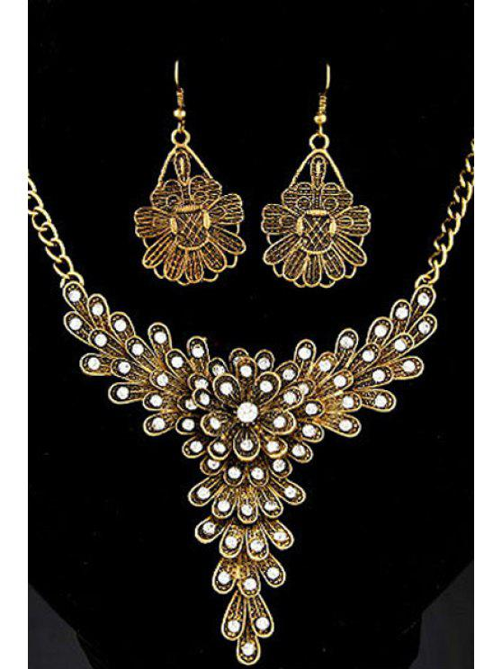 unique Rhinestone Flower Decorated Necklace and Earrings - GOLDEN