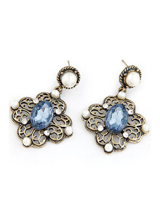 sale Faux Pearl Hollow Out Flower Earrings - BLUE