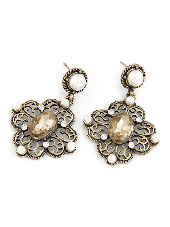Pendientes de la flor hacia fuera falso hueco de la perla - Champagne Oro