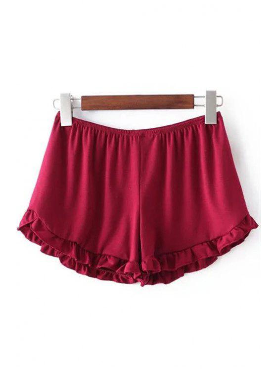 womens Solid Color Trimming Elastic Waist Shorts - RED ONE SIZE(FIT SIZE XS TO M)