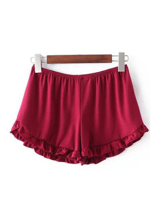 Shorts à taille élastique à couleur pure - Rouge Taille Unique(S'adap