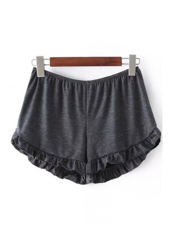 Shorts Monocromático Aseado con Cintura Elática - Gris Oscuro Un tamaño(Montar tam