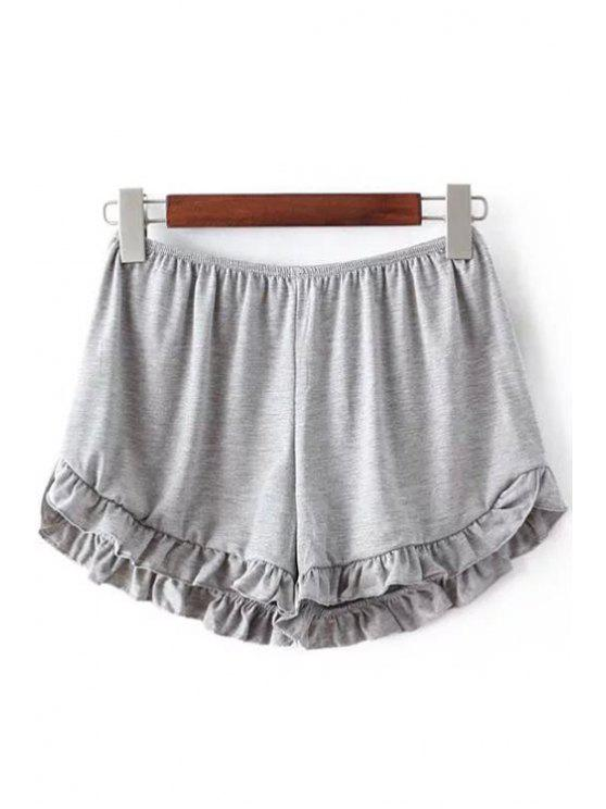 sale Solid Color Trimming Elastic Waist Shorts - LIGHT GRAY ONE SIZE(FIT SIZE XS TO M)
