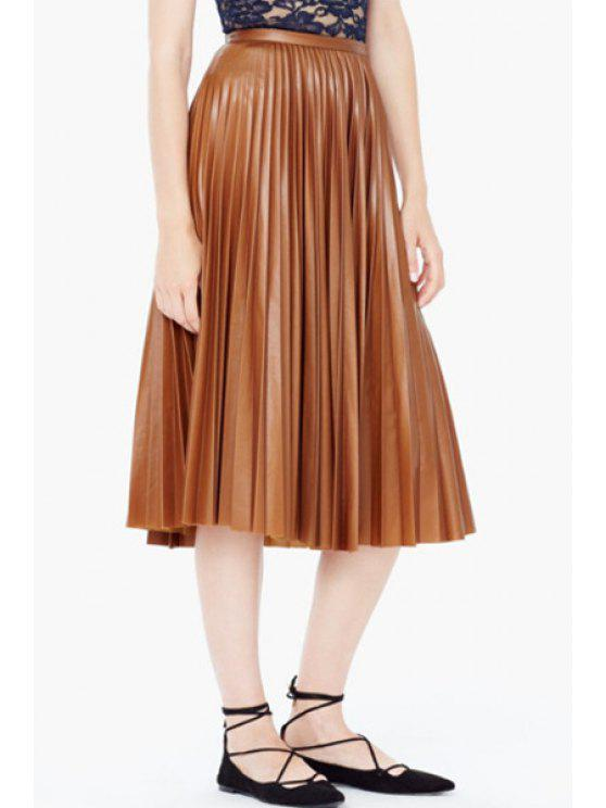 8965242b140 2019 PU Leather High Waisted Pleated Skirt In ORANGE L