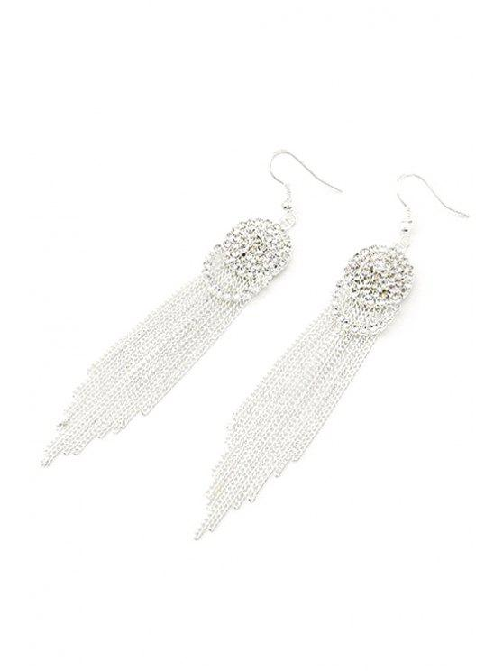 shops Rhinestone Link Chain Tassel Earrings - SILVER