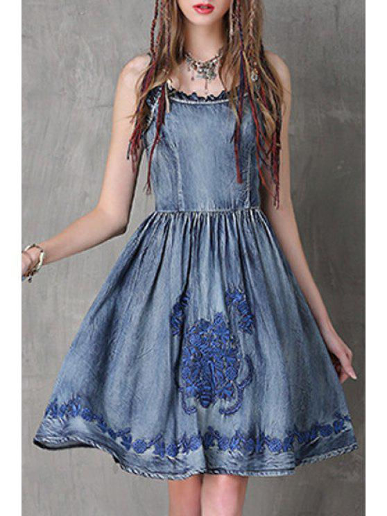 hot Embroidery Cami Denim Dress - BLUE L
