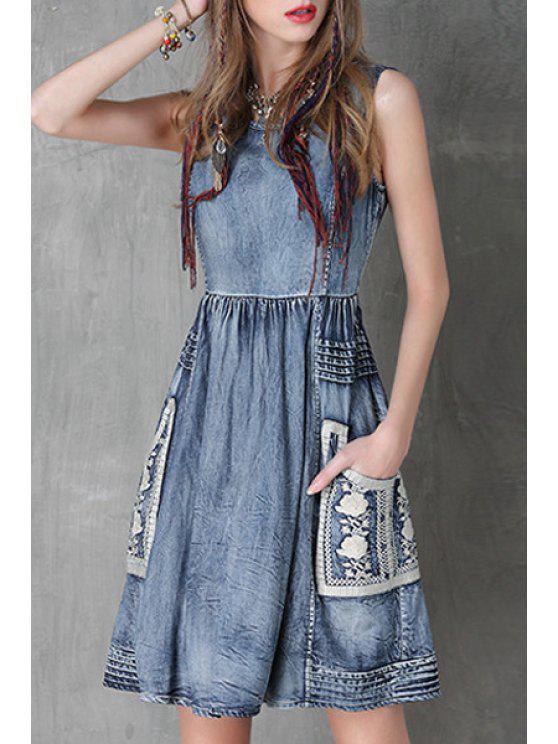best Floral Embroidery Jewel Neck Denim Sundress - BLUE L