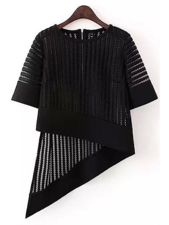 trendy Irregular Hem Half Sleeve Hollow Out T-Shirt - BLACK M
