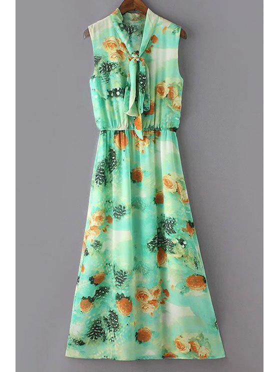 fashion Waisted V-Neck Sleeveless Dress - LIGHT GREEN M