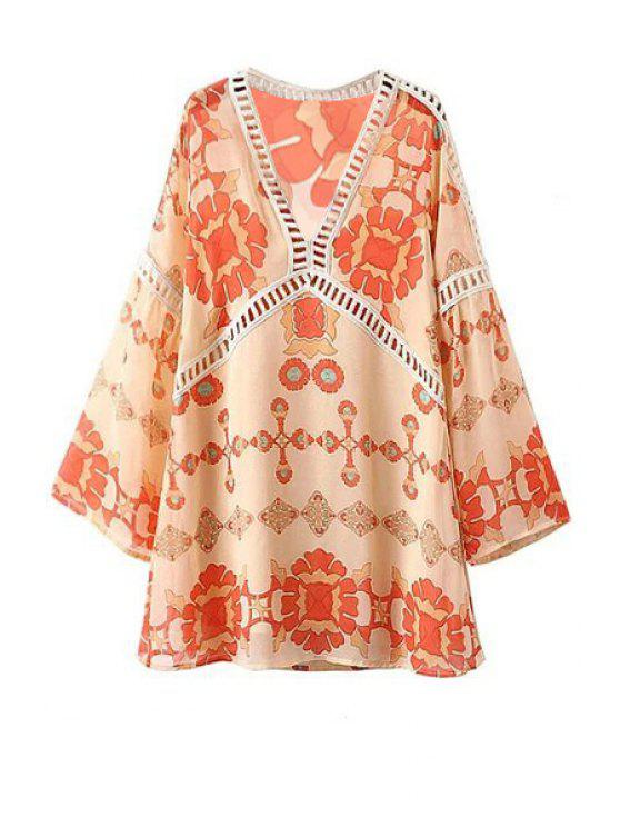latest Printed V-Neck Long Sleeve Lacework Splicing Dress - WARM WHITE LIGHT L