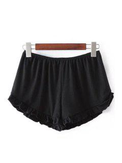 Solid Color Trimming Elastic Waist Shorts - Black