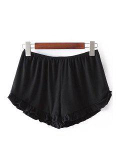 Solid Color Trimming Elastic Waist Shorts - Black
