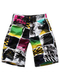 Straight Leg Drawstring Color Block Spliced Men's Board Shorts - M