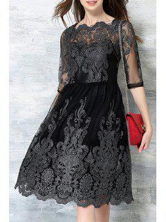 Embroidered See-Through Lace Dress - Black 2xl