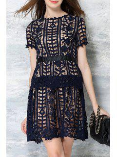 Short Sleeve Crochet Flower Lace Dress - Deep Blue L