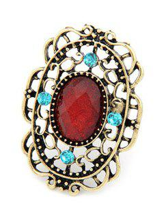 Retro Faux Gemstone Hollow Out Ring - Red One-size