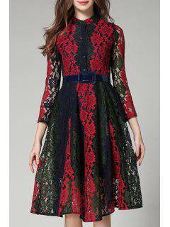 Mock Neck Color Block Lace Dress - Xl
