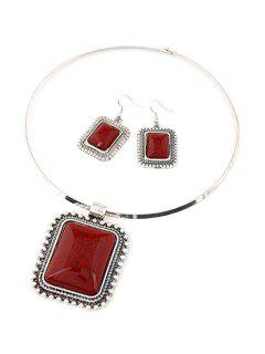 Retro Rectangle Turquoise Necklace And Earrings - Red