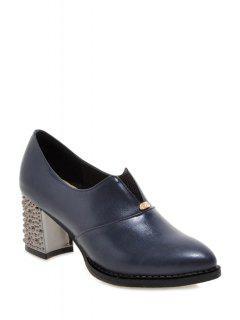 Elastic Solid Color Chunky Heel Pumps - Blue 39