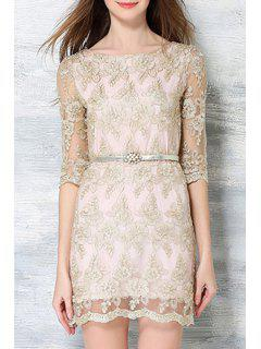 Half Sleeve Embroidered See-Through Dress - Champagne 2xl