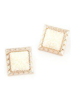 Carving Faux Gemstone Square Earrings - White