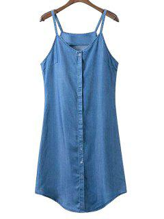 Single-Breasted Cami Sleeveless Denim Dress - Blue L