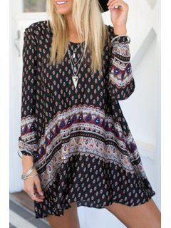 Long Sleeve Tiny Floral Tunic Dress - Black L