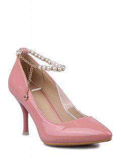 Ankle Strap Beading Patent Leather Pumps - Pink 38