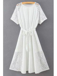 Lace Spliced Round Collar Short Sleeve Belted Dress - White L