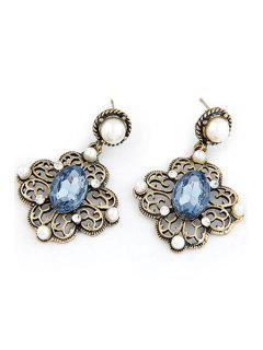 Faux Pearl Hollow Out Flower Earrings - Blue