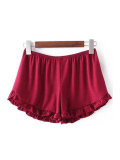 Solid Color Trimming Elastic Waist Shorts - Red