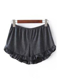 Solid Color Trimming Elastic Waist Shorts - Deep Gray