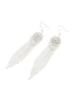 Rhinestone Link Chain Tassel Earrings - Silver