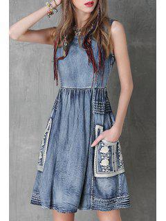 Floral Embroidery Jewel Neck Denim Sundress - Blue L
