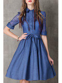 Lace Spliced Turn Down Collar Half Sleeve Denim Dress - Blue L