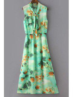 Waisted V-Neck Sleeveless Dress - Light Green M