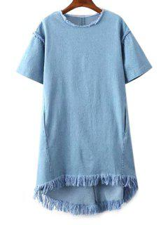 Denim Round Collar Short Sleeve Fringes Dress - Ice Blue L