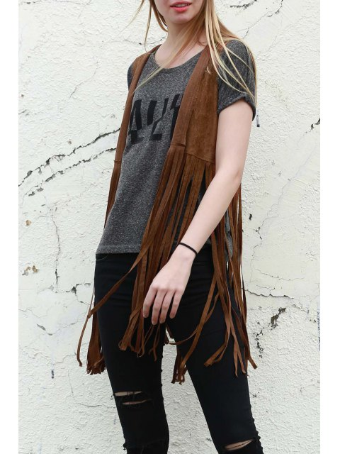 latest Wild West Suede Fringe Vest - CAMEL M Mobile