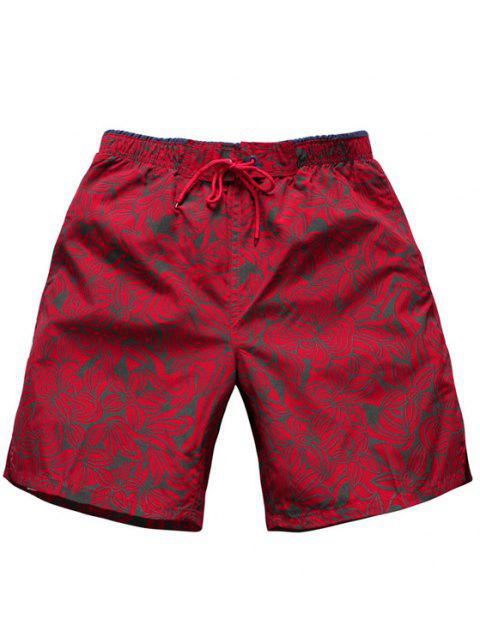 lady Straight Leg Drawstring Floral Board Shorts - RED M Mobile