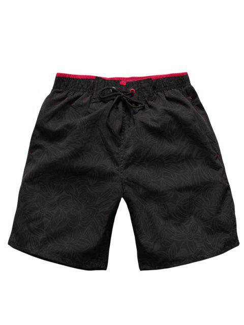 Pierna Recta Impresión Floral de Lazo Pantalones Cortos - Negro XL Mobile
