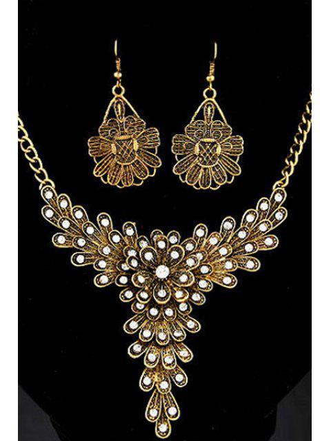 Collar adornado de flores Lover y los pendientes - Dorado  Mobile