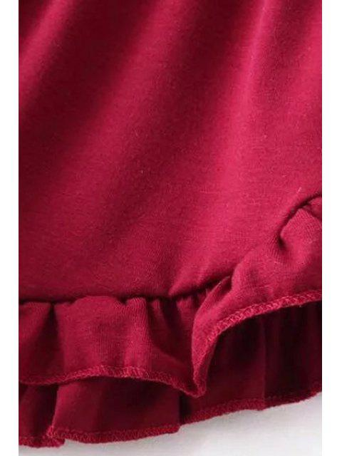 womens Solid Color Trimming Elastic Waist Shorts - RED ONE SIZE(FIT SIZE XS TO M) Mobile